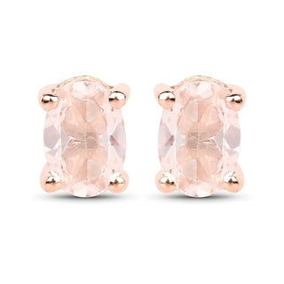 Malaika Rose Goldplated Sterling Silver 7/8ct Morganite Earrings