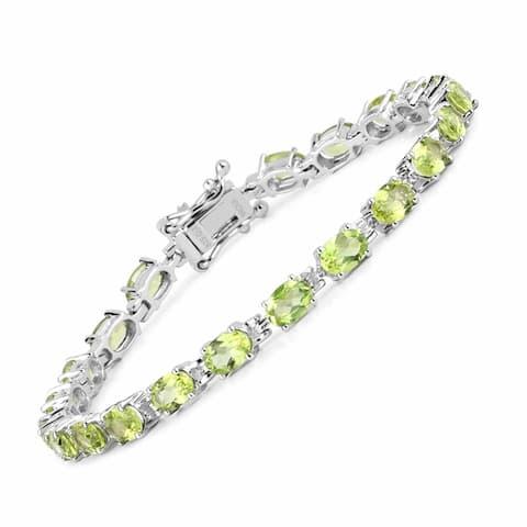 Olivia Leone Sterling Silver 9 1/2ct Peridot Bracelet