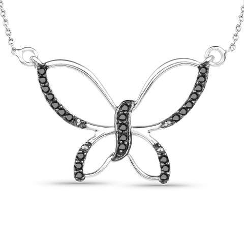 Malaika Sterling Silver 1/4ct TDW Black and White Diamond Pendant