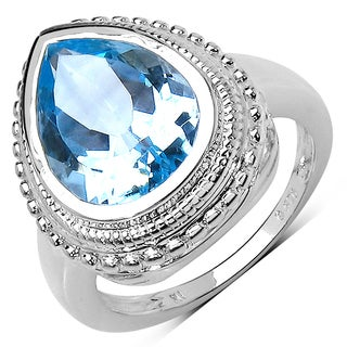 Olivia Leone Sterling Silver 5 1/2ct Blue Topaz Ring