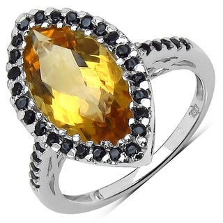 Malaika Sterling Silver 2 3/5ct Citrine and Black Spinel Ring