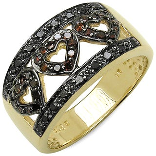 Malaika 14k Yellow Goldplated Sterling Silver 3/8ct TDW Red and Black Diamond Ring