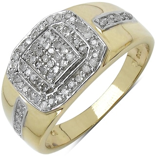 Malaika 14k Yellow Goldplated Sterling Silver 3/8ct TDW Diamond Ring