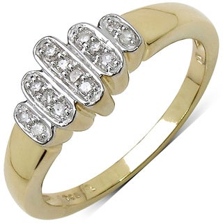 Malaika 14k Yellow Goldplated Sterling Silver 1/10ct TDW Diamond Ring