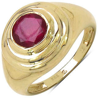 Malaika 14k Yellow Goldplated Sterling Silver 1 5/8ct Ruby Ring