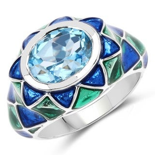Malaika Sterling Silver 3 1/4ct Swiss Blue Topaz Ring