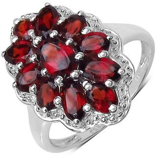 Malaika Sterling Silver 3ct Garnet Ring