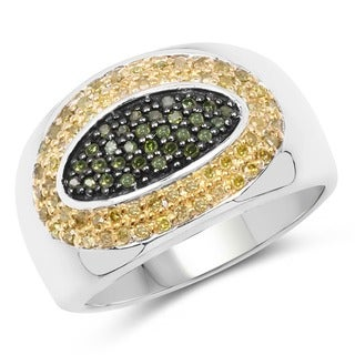 Malaika Sterling Silver 1/2ct TDW Green and Yellow Diamond Oval Ring