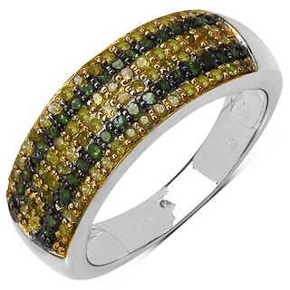 Malaika Sterling Silver 1/2ct TDW Green and Yellow Diamond Ring