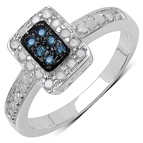 Olivia Leone Sterling Silver 1/3ct TDW Blue and White Diamond Ring