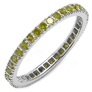 Malaika Sterling Silver 3/5ct TDW Yellow Diamond Ring
