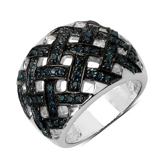 Olivia Leone Sterling Silver 3/5ct TDW Blue Diamond Ring