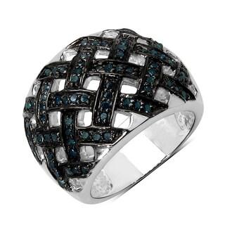 Olivia Leone Sterling Silver 3/5ct TDW Blue Diamond Ring