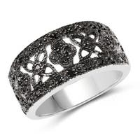 Olivia Leone Sterling Silver 1/3ct TDW Black Diamond Ring
