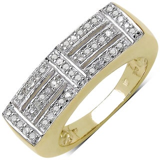 Malaika Yellow Goldplated Sterling Silver 1/4Ct Tdw Diamond Ring