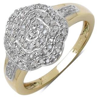 Malaika 14k White Goldplated Sterling Silver 3/8ct TDW Diamond Ring