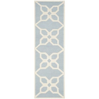 Safavieh Handmade Cambridge Barbra Modern Wool Rug (26 x 8 Runner - Blue/Ivory)