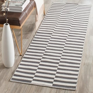 Safavieh Hand-Woven Montauk Ivory/ Grey Cotton Rug (2'3 x 7')