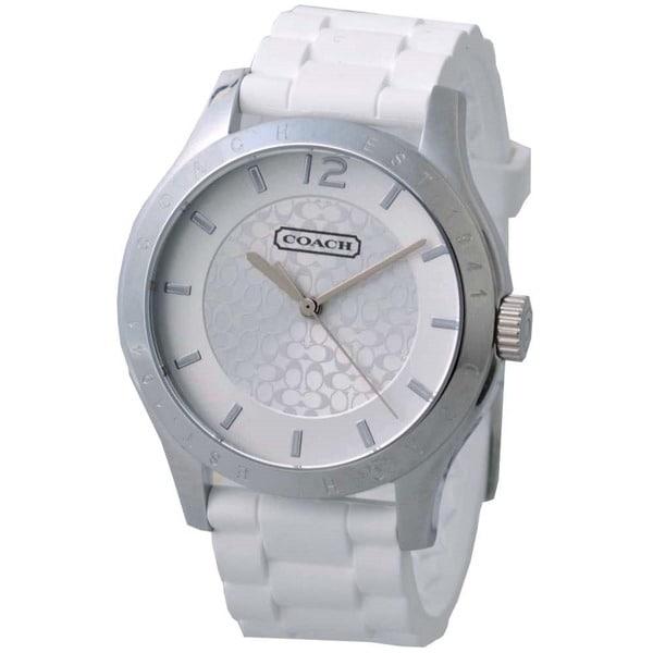 Coach Women's 14501803 Maddy Round White Silicone Strap Watch