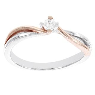 H Star 10k White and Rose Gold 1/10ct TDW Diamond Solitaire Promise Ring (I-J, I2-I3)