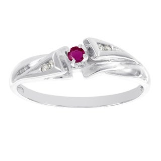 H Star 10k White Gold Ruby and Diamond Accent Promise Ring