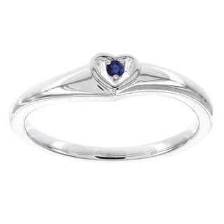 H Star 10k White Gold Round Sapphire Heart Promise Ring