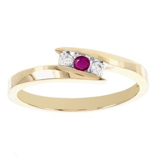 H Star 10k Yellow Gold Diamond and Ruby 3-Stone Bypass Promise Ring