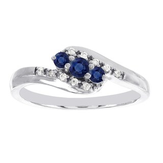 H Star 10k White Gold 3-stone Sapphire and Diamond Accent Promise Ring