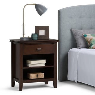 WYNDENHALL Stratford Solid Wood 24 inch Wide Contemporary Bedside Nightstand Table