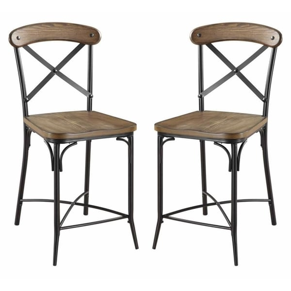 Olympia Cross Back Design Two Tone Counter Stool Set Of 2