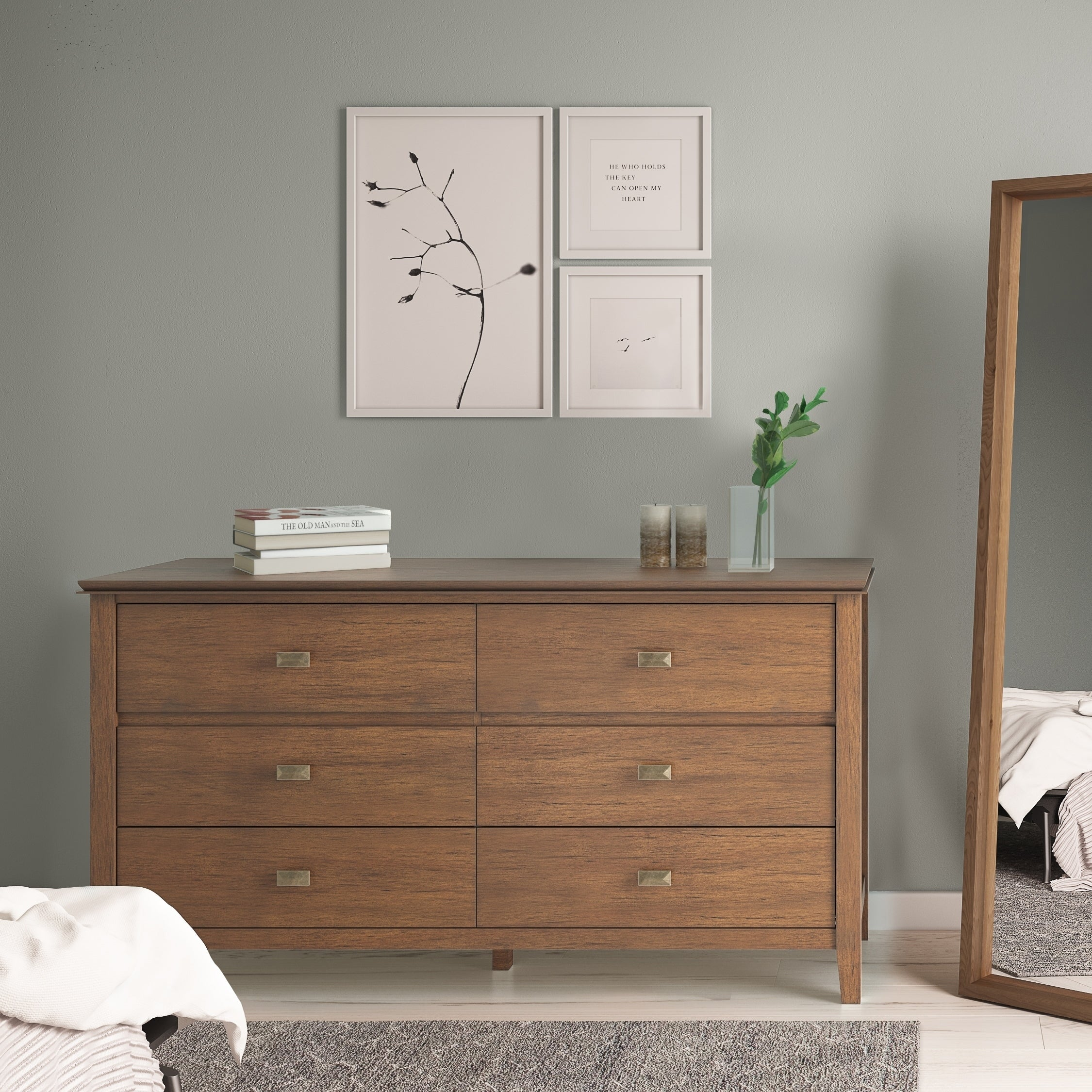 WYNDENHALL Stratford Solid Wood 60 inch Wide Contemporary Bedroom Dresser  and Media Cabinet