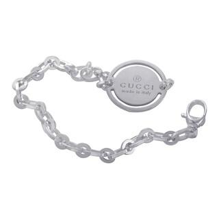 Gucci Sterling Silver Link Signature Rolo Link Bracelet