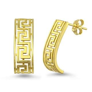 10k Yellow Gold Greek Key J-Hoop Earrings