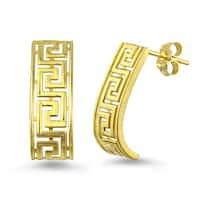 10k Yellow Gold Greek Key J-Hoop Earrings