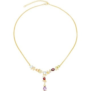 18k Gold over Sterling Silver Multi-gemstone Necklace