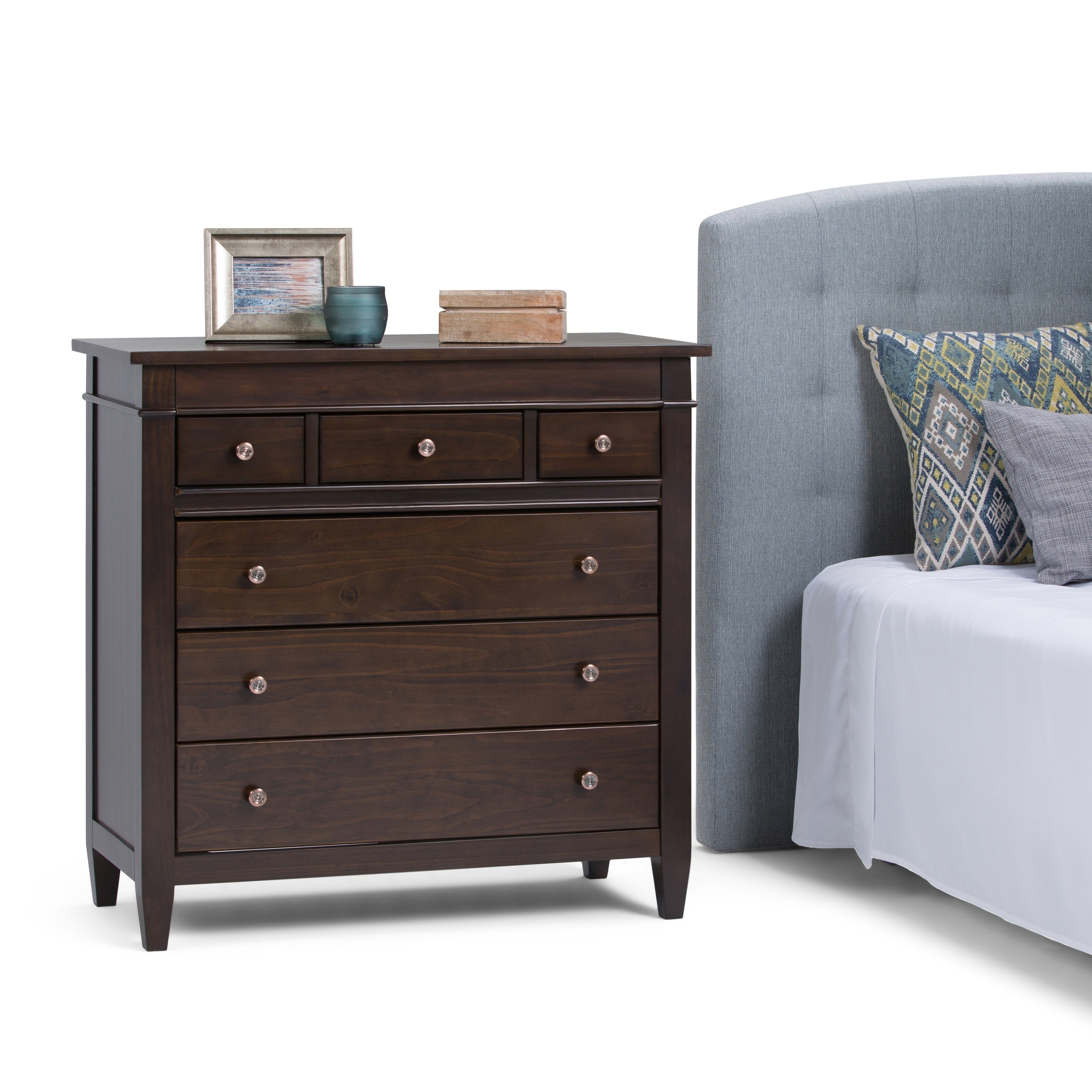 WYNDENHALL Sterling Solid Wood 36 inch Wide Contemporary Bedroom Chest of  Drawers