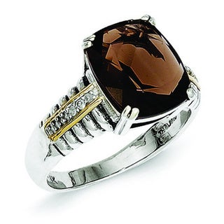 Versil Shey Couture Sterling Silver 14k Yellow Gold Smoky Quartz and Diamond Accent Ring (Size 8)