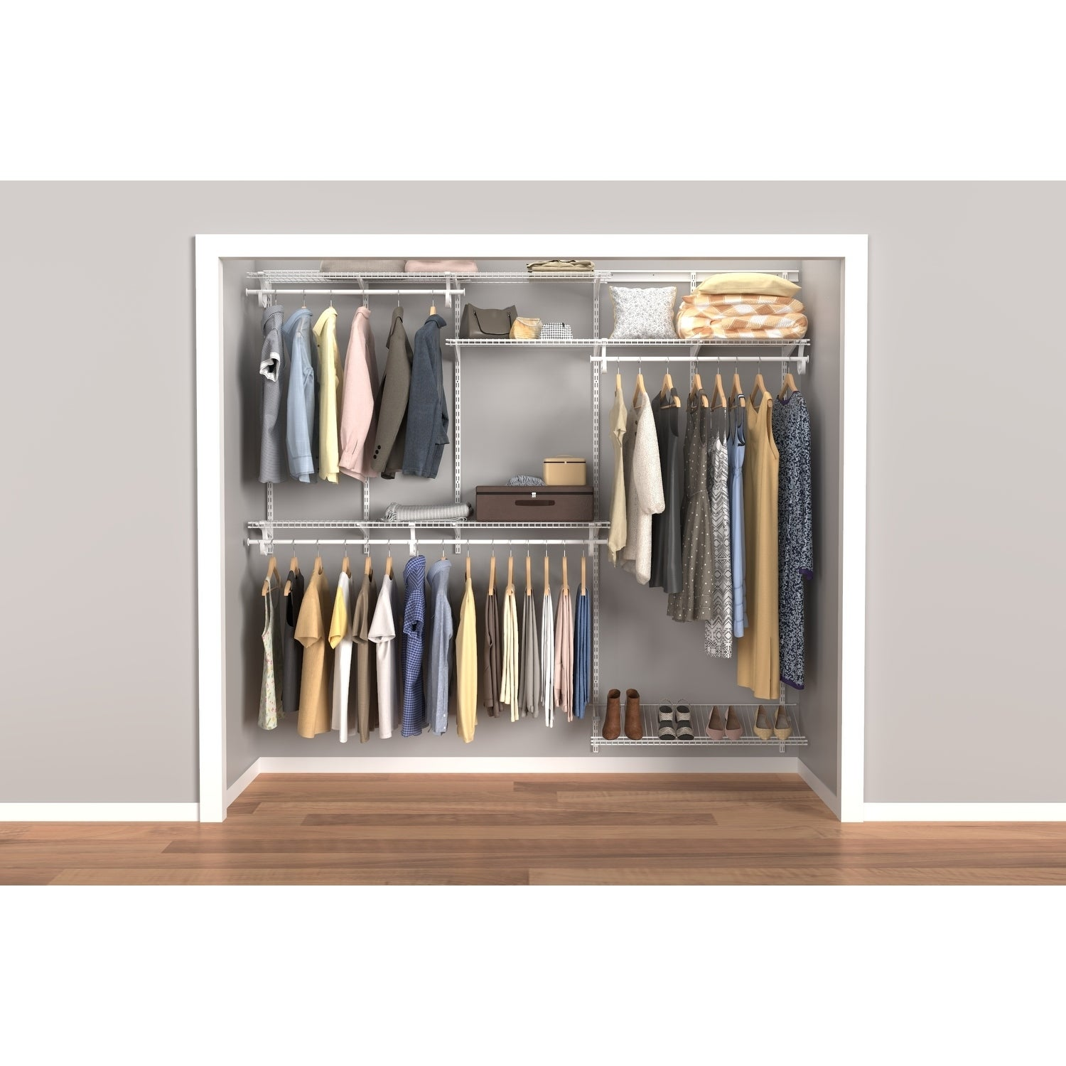 Closetmaid ShelfTrack 5ft to 8ft Closet Organizer Kit, Wh...