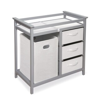 Badger Basket Grey Wood Modern Changing Table with Baskets and Hamper