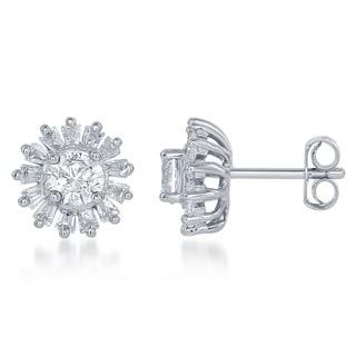 La Preciosa Sterling Silver Cubic Zirconia Halo Earrings