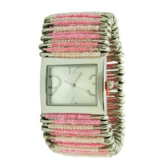 Women's Pink Pastel Stretch Band Safety Pin Fashion Watch with Rectangular Dial|https://ak1.ostkcdn.com/images/products/10581915/P17657237.jpg?impolicy=medium