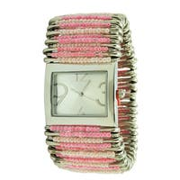 Women's Pink Pastel Stretch Band Safety Pin Fashion Watch with Rectangular Dial