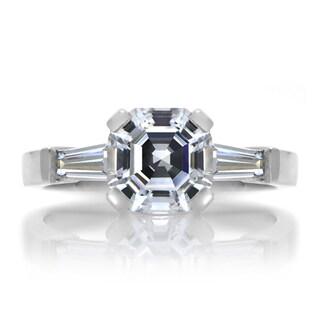 Sterling Silver Asscher Cut CZ Engagement Ring