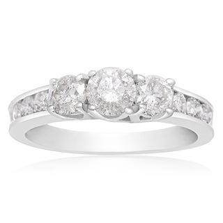 10K White Gold 1 Carat TDW Three Stone Diamond Engagement Ring (J-K, I2-I3)