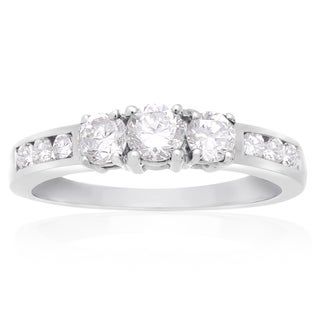 10K White Gold 1/2 Carat TDW Three Stone Diamond Engagement Ring (J-K, I2-I3)