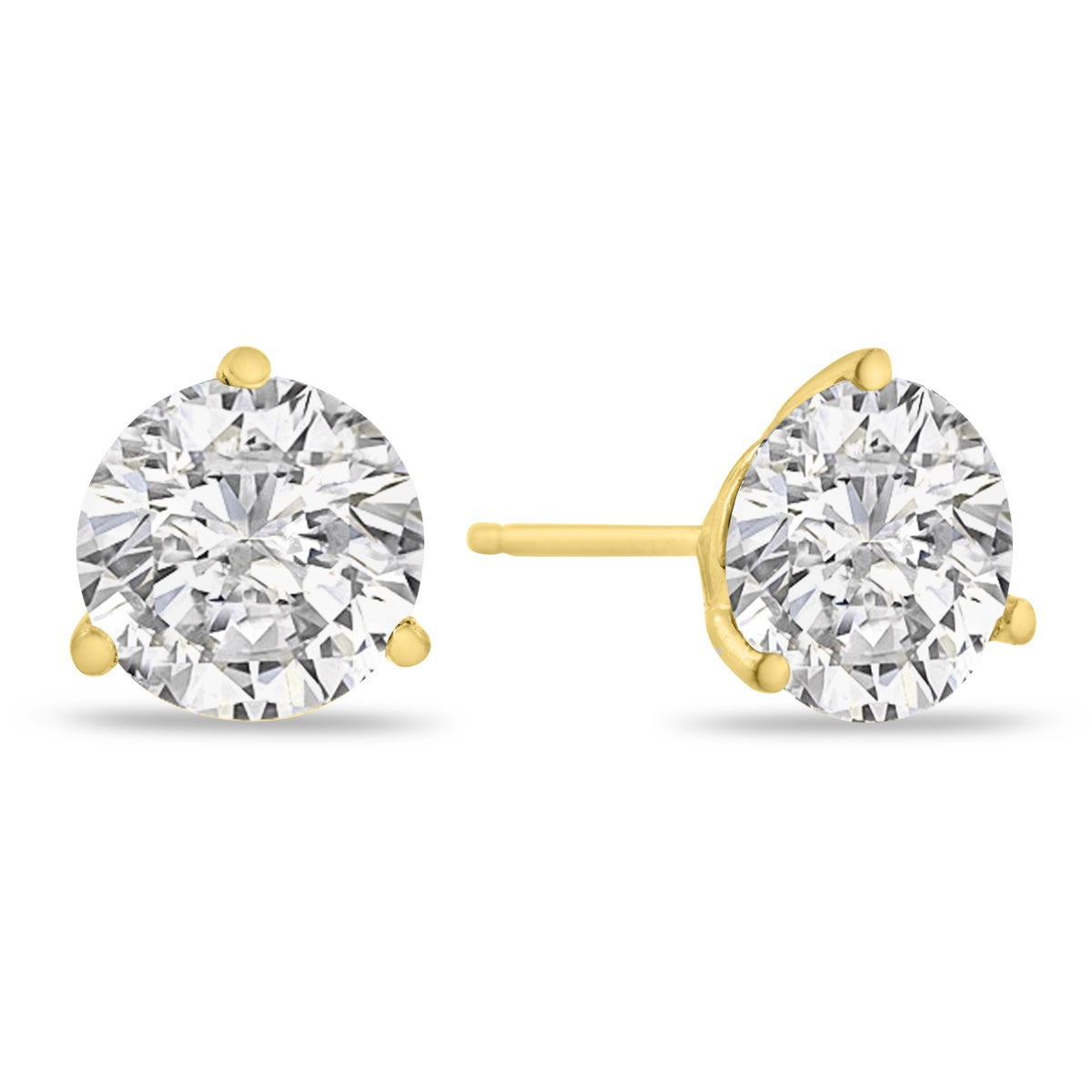 d52eaa2c7 14K Yellow Gold Natural Diamond Martini Stud Earrings | eBay