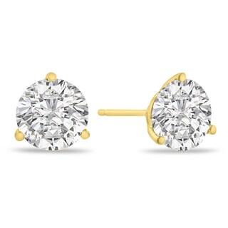 14K Yellow Gold Natural Diamond Martini Stud Earrings (I-J, I2)