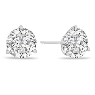 14K White Gold Natural Diamond Martini Stud Earrings (4 options available)