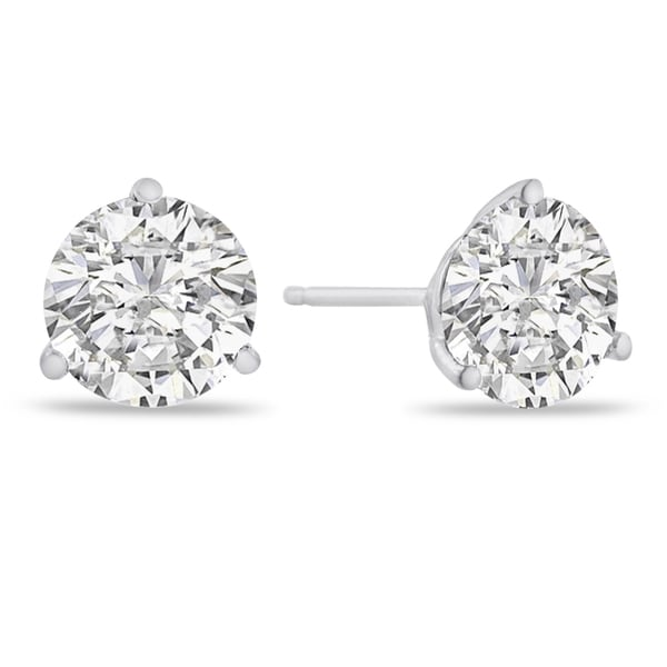14K White Gold Natural Diamond Martini Stud Earrings