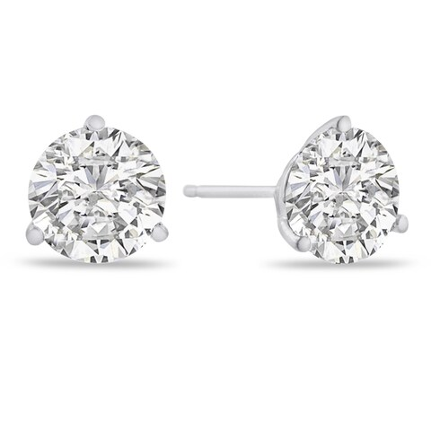 14K White Gold Natural Diamond Martini Stud Earrings